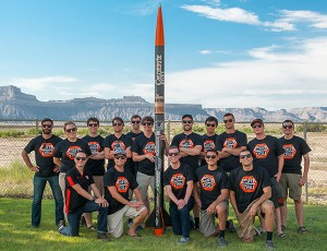 The 2015 Oregon State AIAA team at the Intercollegiate Rocketry Engineering Competition held in Green River, Utah.