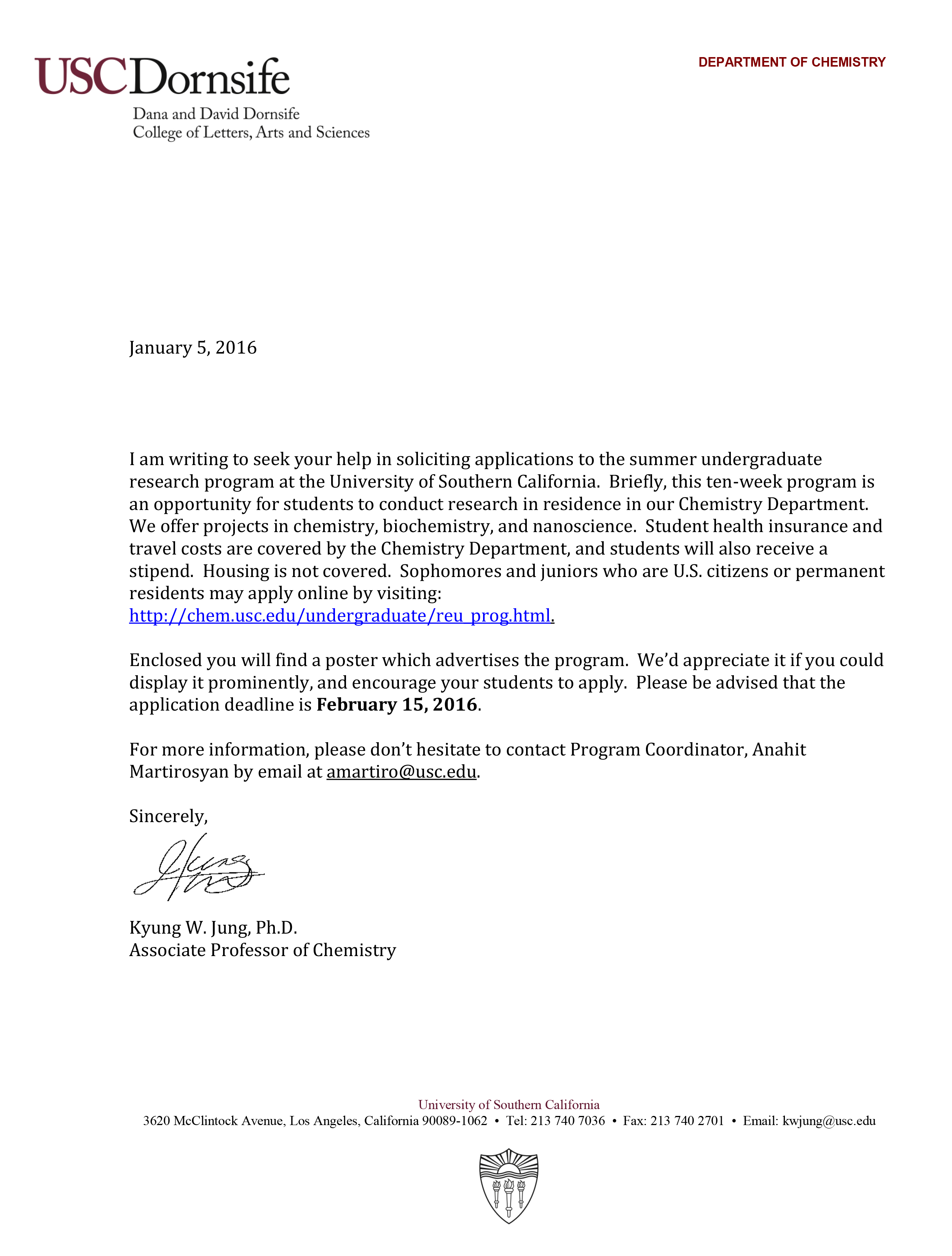 usc acceptance letter informatin for letter usc admission essay the erlenmeyer flask usc chemistry undergraduate summer research
