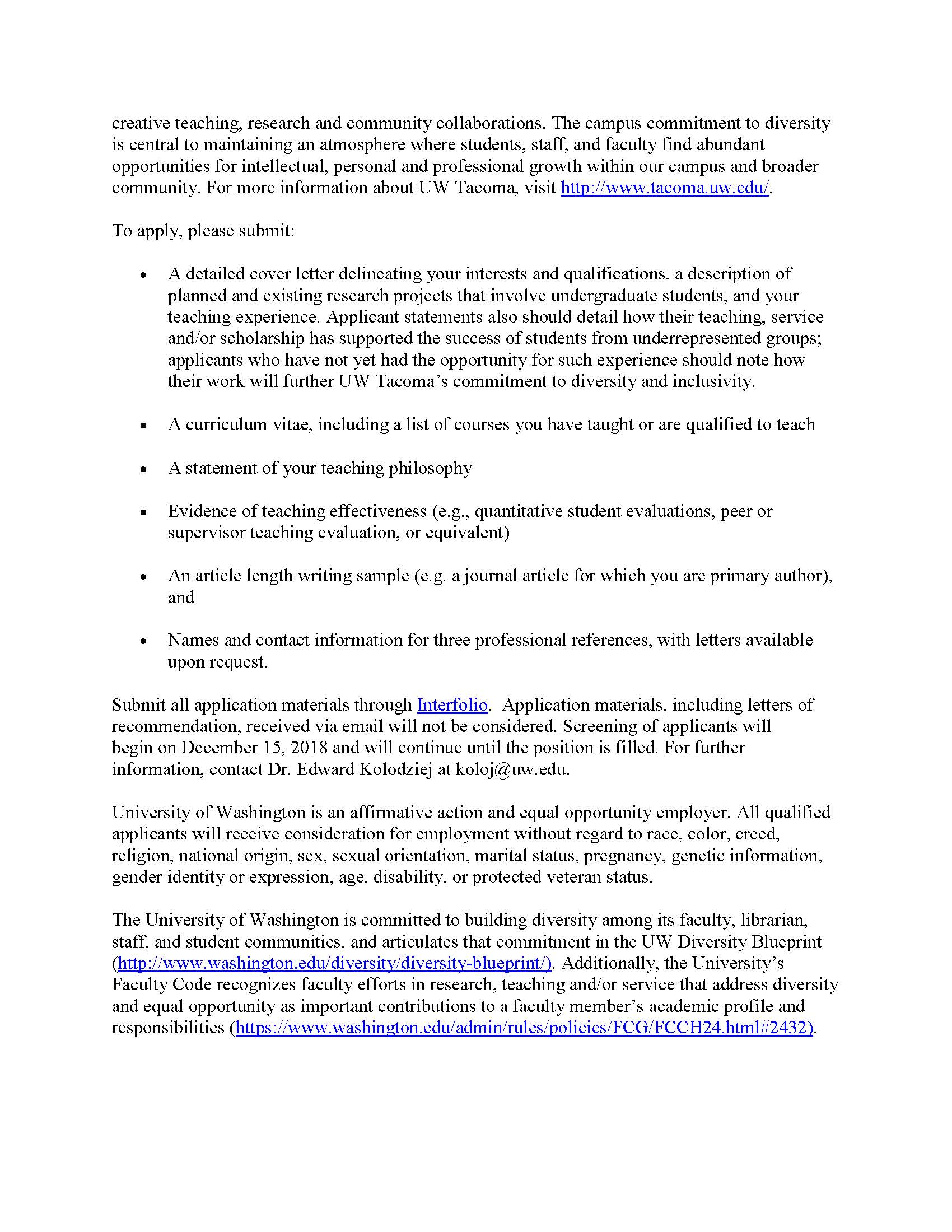 UWT - Assistant Professor in Organic Chemistry - The Erlenmeyer Flask