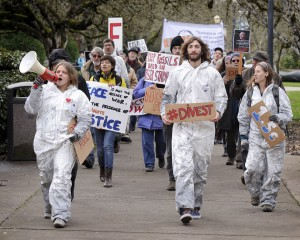 Students march on OSU campus, demanding divestment from fossil fuels.