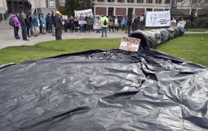 A simulated oil spill on campus.
