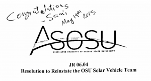 ASOSU Joint Resolution 06.04 : A resolution to reinstate the OSU Solar Vehicle Team
