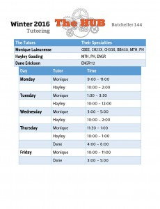 Winter 2016 Tutoring Schedule!