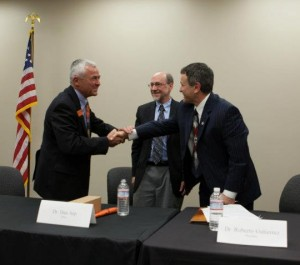 Scott Reed (Vice Provost, OSU Division of University Outreach and Engagement, Dan Arp (Dean, OSU College of Agricultural Sciences) and Roberto Gutierrez (President, Klamath Community College)