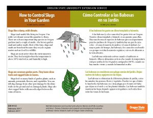 """How to Control Slugs in Your Garden"" bilingual publication published by Extension and Experiment Station Communications"