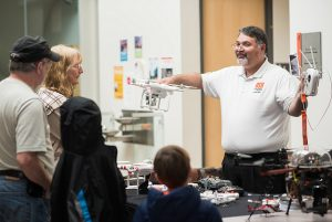Victor Villegas demonstrates drone technology at the 2017 Maker Fair at Oregon State University