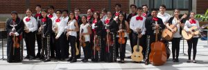 2016 Mariachi STEAM Summer Camp participants are ready for the final camp performance dressed in traditional Mariachi costumes.