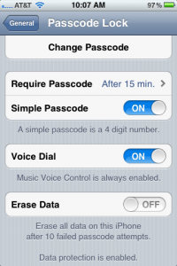 screenshot of iPhone passcode lock settings