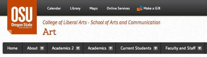 Art department site name showing the school and college