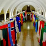 corridor full of international flags