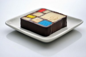 Mondrian cake by Caitlin Freeman at SFMOMA. Photo by Charlie Villyard.