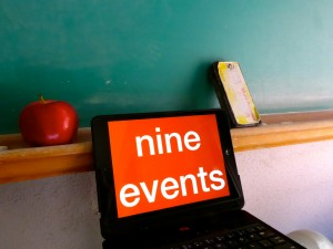 "chalkboard, apple, eraser, iPad that says ""nine events"""