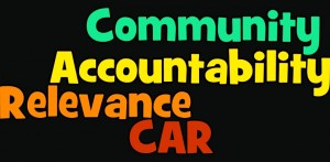word cloud: community, accountability, relevance, CAR