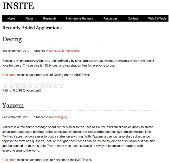insite project: web 2.0 tools for education