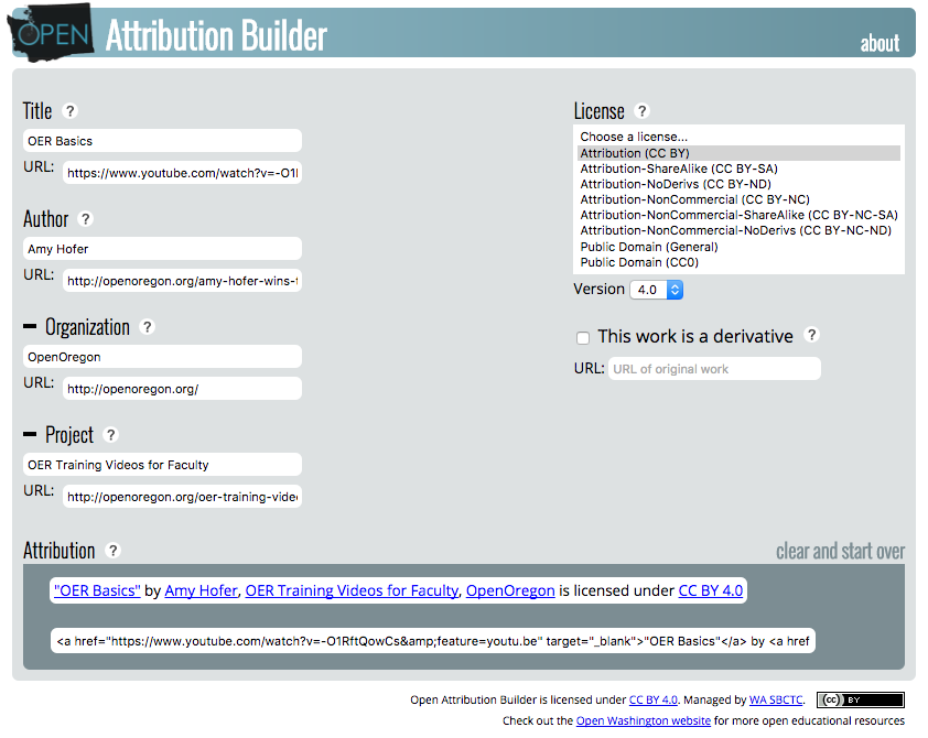 Open Washington Attribution Builder Screenshot
