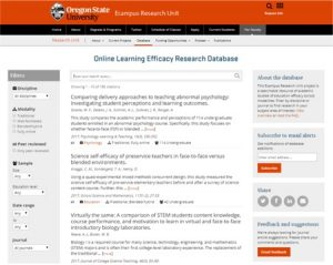 Screenshot of Research Database