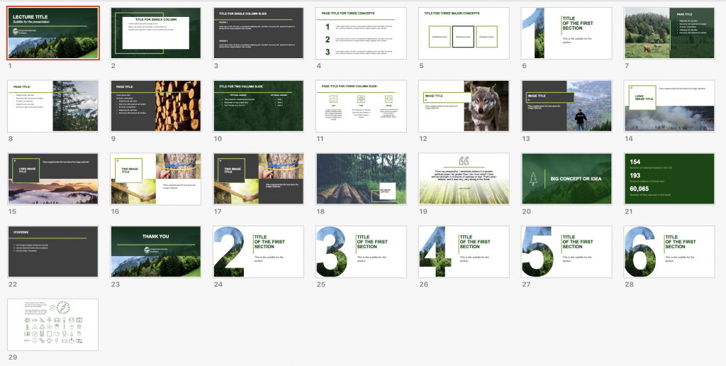 The slide series from the College of Forestry PowerPoint template. Produced by Ecampus.