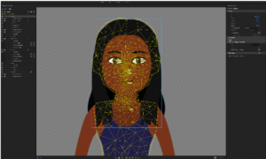 Image of character being rigged into a puppet showing the mesh and body tags.