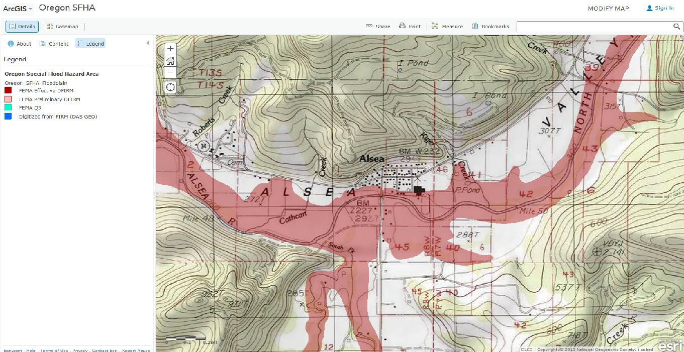 Alsea Oregon Map.Analysis Of Flood Levels At 10 50 100 And 500 Year Events On
