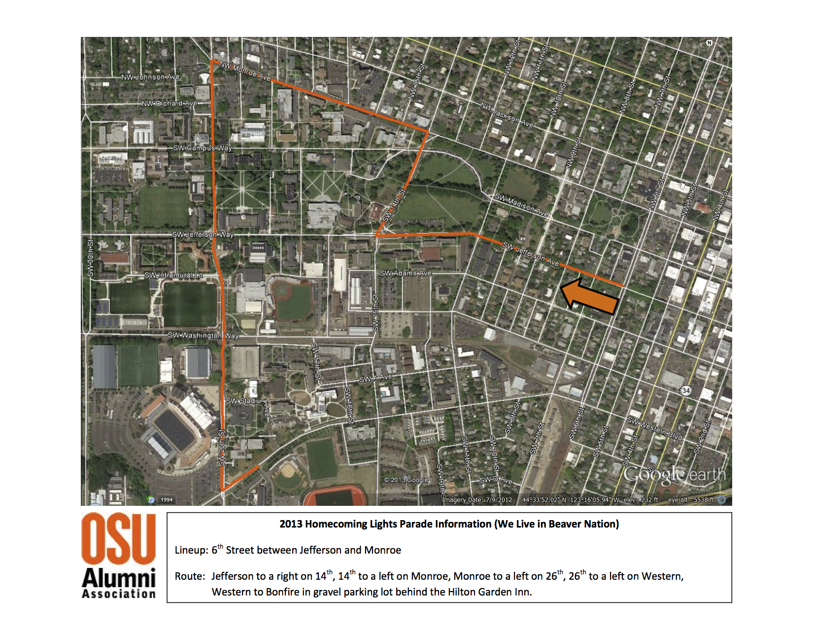 2013 Homecoming Parade Route