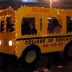 College of Education's School Bus Homecoming Parade float