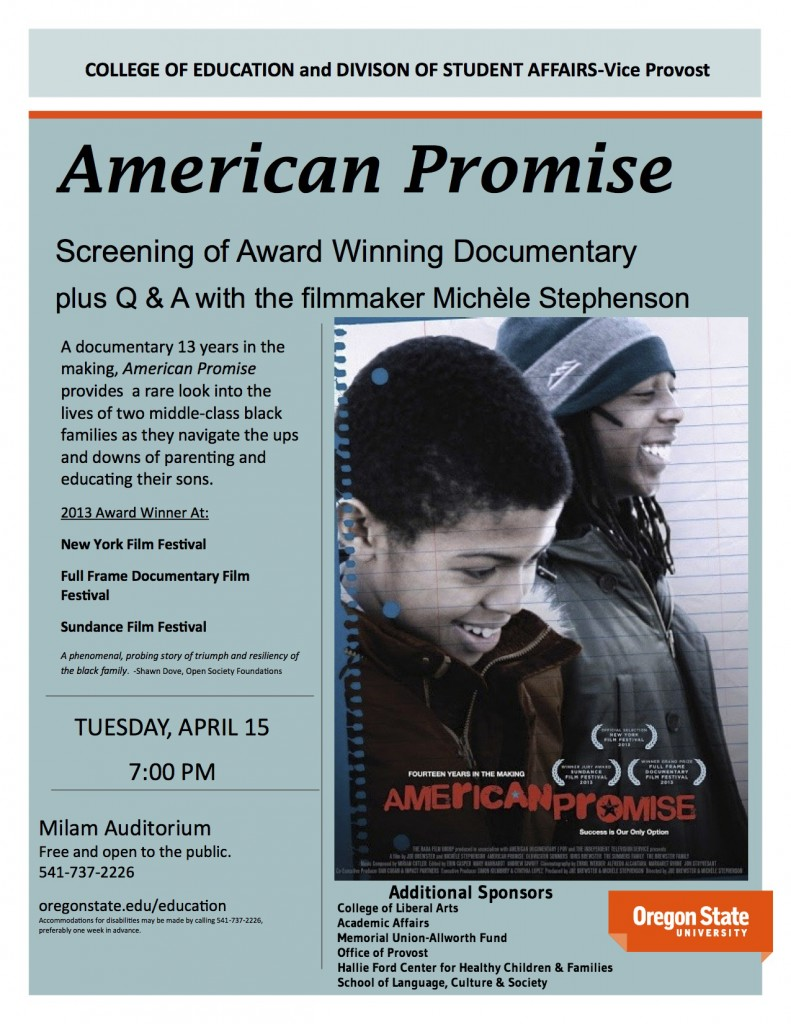 American Promise poster with sponsors