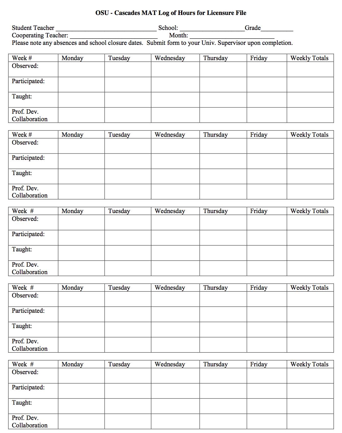 Log of Hours Form - OSU-Cascades MAT Handbook