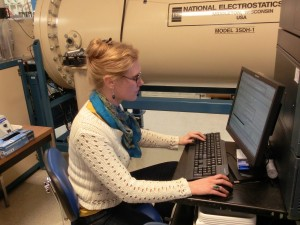 Erin Madeen working at the Lawrence Livermore National Laboratory.