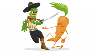 Image by DragonGuRo. Polyculture cactus vs. monoculture carrot!