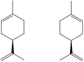 Figure 3. Limonene has chiral isomers that are mirror    images of each other but are not           superimposable, resulting in     different aromas and sensory