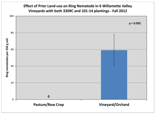 Figure 4. Impact of previous land use on ring nematode (Mesocriconema xenoplax) populations in Fall 2012 in six vineyards of the same age grafted to 3309C or 101-14 rootstock. Ring nematode is expressed as the number per 250 grams of soil. (Zasada and Schreiner, unpublished).