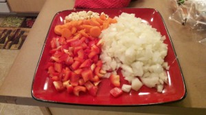 Diced onion, red pepper, and minced garlic.