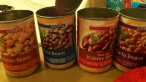 All on sale Safeway brand beans - cheapest option.
