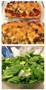Pictured here is some homemade pizza as well as a side salad; I love to complement homemade pizza with a side salad since I only put meats and cheeses on my pizza. Gives me a well rounded and nutritionally balanced meal.