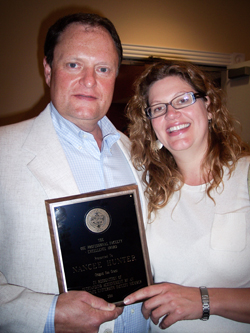 Award recipient Nancee Hunter, right, with fiancee George Winkler
