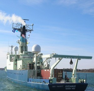 R/V Oceanus departing WHOI, Jan. 25