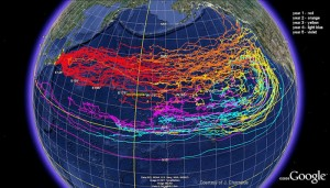 Model of possible debris dispersal - image courtesy of NOAA
