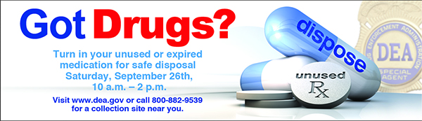 Dispose of old medicine on National Prescription Drug Takeback Day