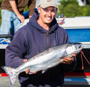 Man holding salmon