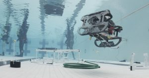 A student-operated robot performs a task as part of a Marine Advanced Technology Education Remotely Operated Vehicle competition. Oregon Sea Grant coordinates the annual event.