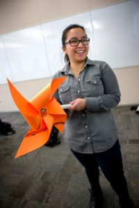 Student Gertrude in class with windmill model
