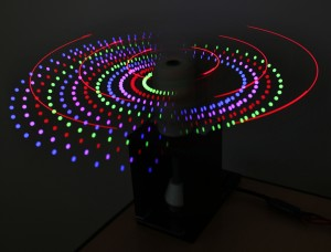 OSU students in computer science, mechanical and electrical engineering teamed up to create a spinning LED display.