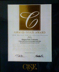 Grand Gold award certificate for OSU's redesigned home page