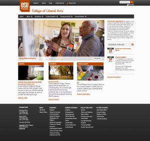 Screen shot of College of Liberal Arts website http://liberalarts.oregonstate.edu