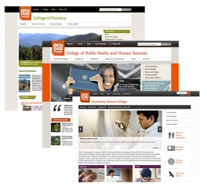 Three screen grabs depicting the Forestry, Public Heath and Honors College websites