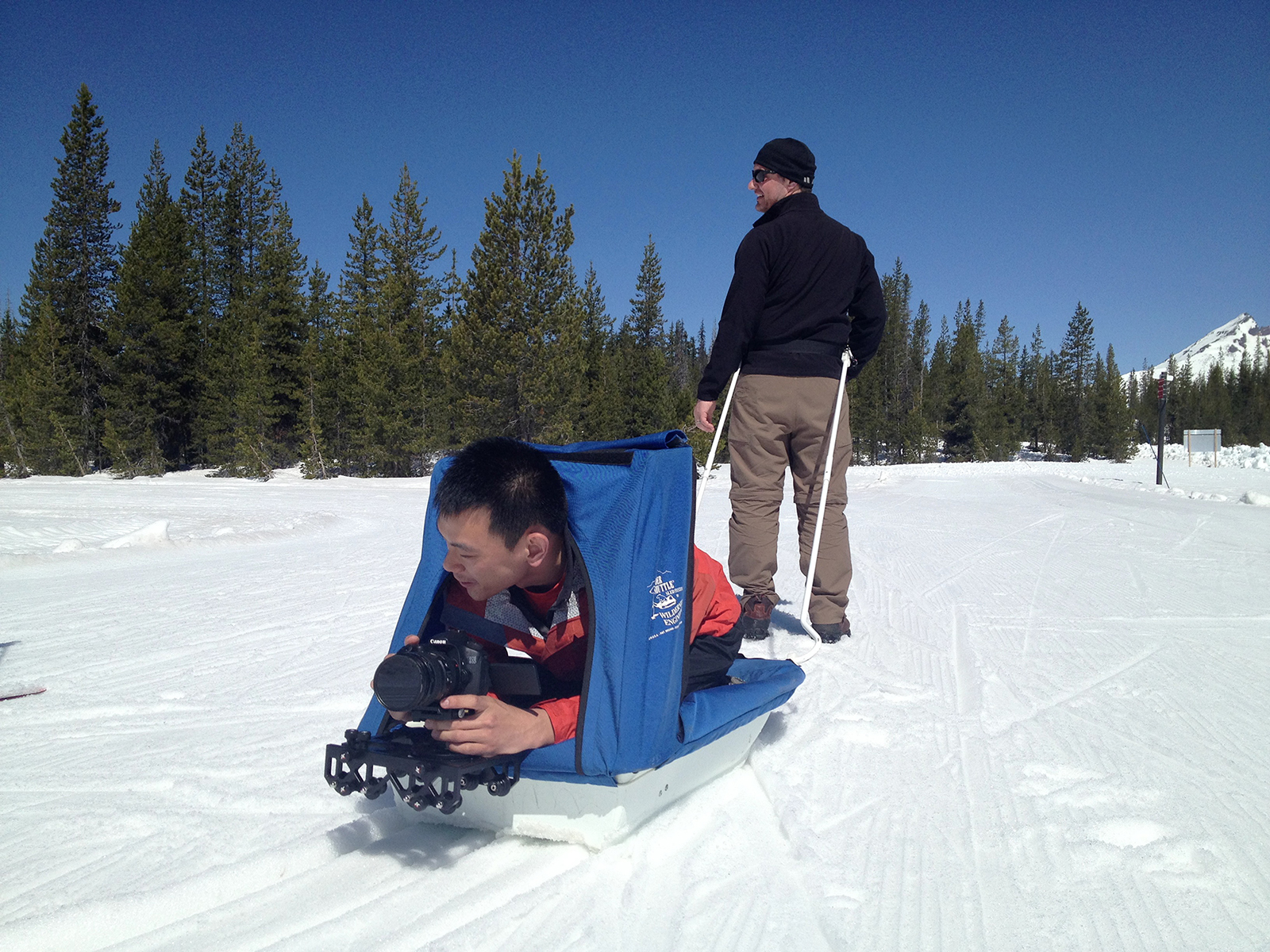 video tracking shot via sled
