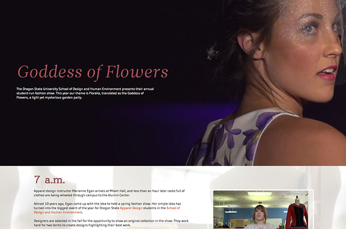 Floralia website screenshot showing model at the fashion show