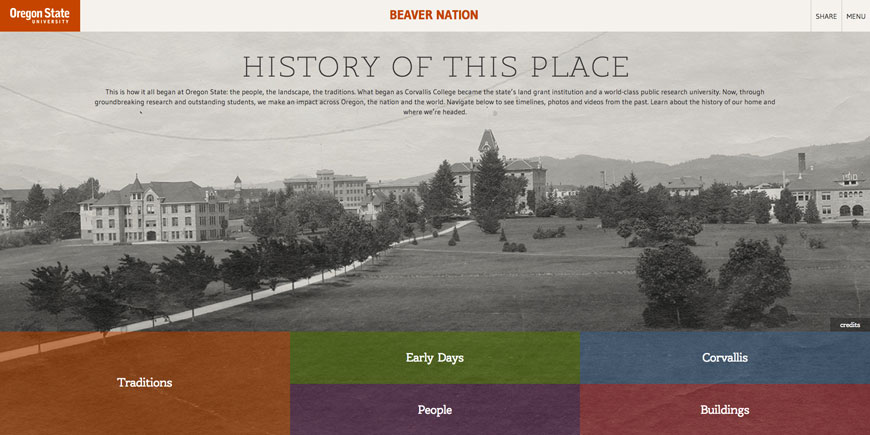Home page screenshot of the Beaver Nation history site with an archival photo of the Oregon State Campus in the background.