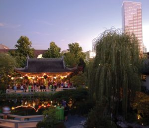 Lan Su Chinese Garden, with the city of Portland in the background.