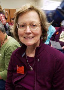 Linda Jenkins wearing OSU Master Gardener badge